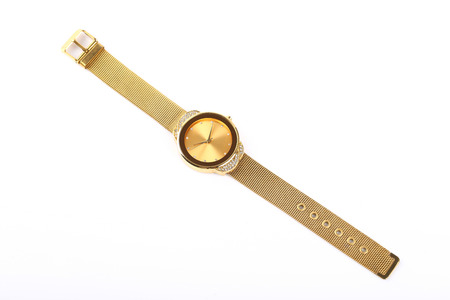chronograph: golden watch isolated on a white background.