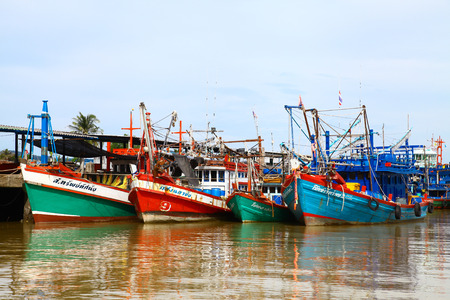 white colour: SATUN, THAILAND - Fishing boats are out fishing on province of Satun. Editorial