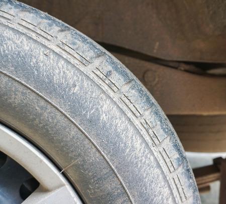 muddy: Muddy wheels. Stock Photo