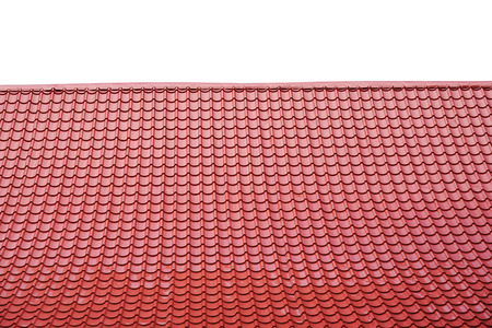 ceramiki: Czerwony dach izolowany na białym tle.