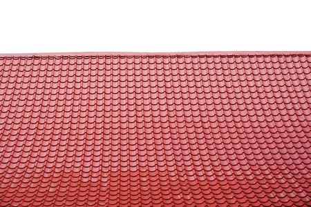 toit rouge isolé sur blanc.