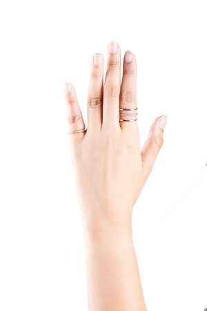 ring finger: Women wear the ring finger isolated on a white background.