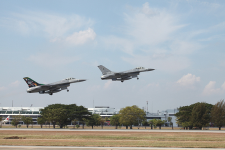 BANGKOK, THAILAND - JAN 09: F16 show on childrens Day at Royal Thai Air Force Base located in donmuang Thailand, January 09, 2016, Bangkok, Thailand.