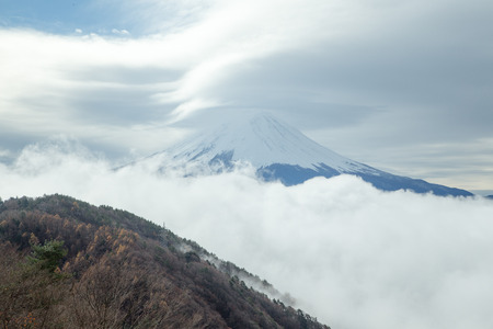 Mount Fuji on cloudy days - Top view from mount.
