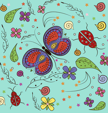 lady bug: Seamless textile design butterfly, flower and lady bug patch illustration in jpeg