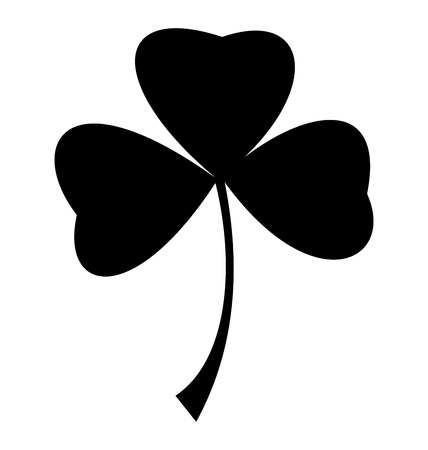 three leaf clover: Leprechaun three leaf clover silhouette Illustration