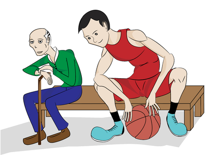 player bench: Young basketball player waiting with his coach on bench for turn