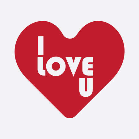 Single vector of heart with I love u written in it, use for print and web or others purpose.