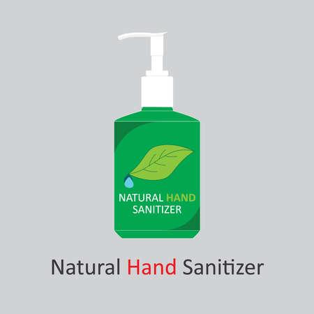 Graphic design of natural hand sanitizer bottle for print and web uses or concept art Ilustração