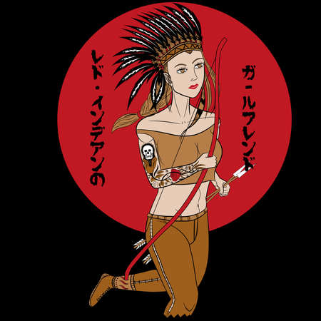 Only 6 Colors Beautiful Red Indian Girl's Graphic For T-Shirts or screen printing 矢量图像