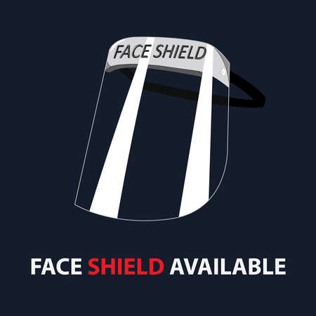 Ppe kit Clear plastic face shield protection use by doctors and healthcare staff Ilustração