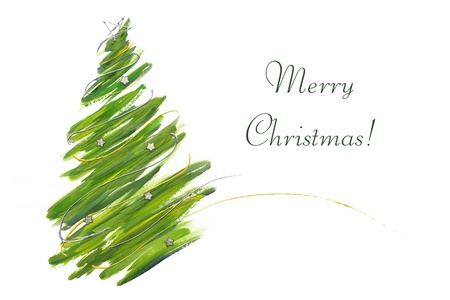 christmas decorations with white background: christmas tree card