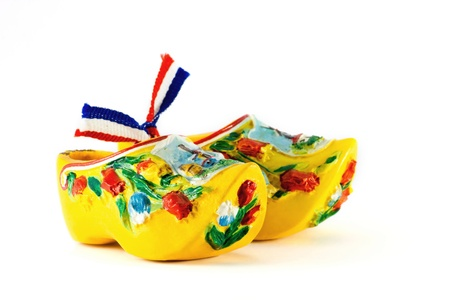 clog: Yellow Dutch shoes isolated on white