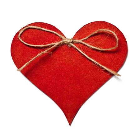 Red heart with decorative thread