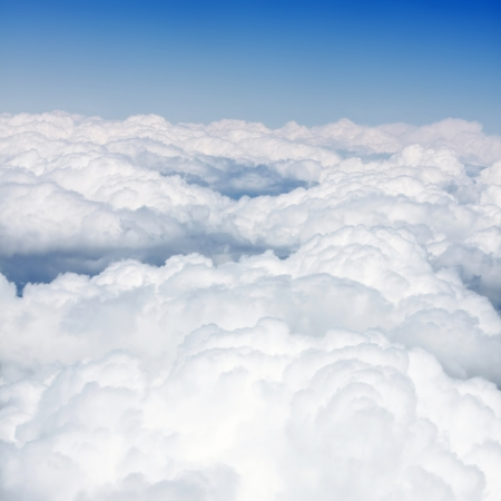 Blue sky with clouds aerial view photo