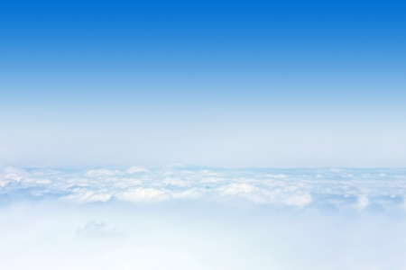 above the clouds: Blue sky with clouds aerial view Stock Photo