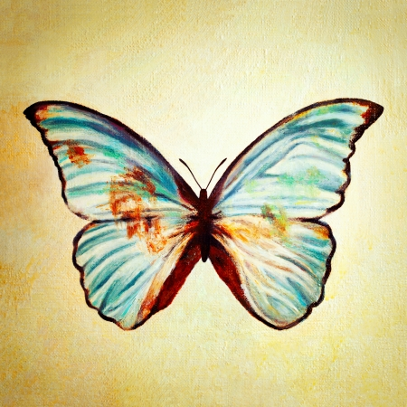 oil painting: Oil painting of blue butterfly  Stock Photo