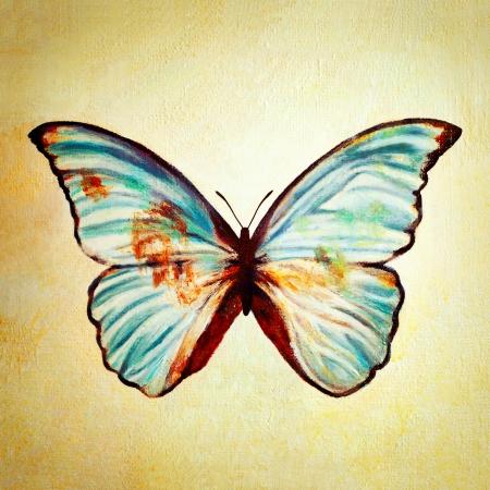 mariposa azul: Pintura al óleo de la mariposa azul