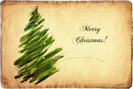 Vintage Christmas tree card  Standard-Bild