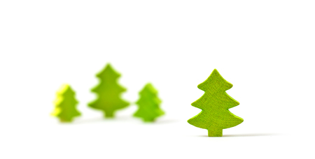 Wooden Christmas trees isolated on white background  photo