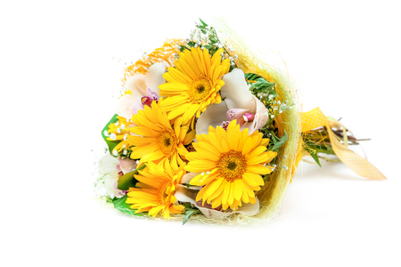 Bouquet of different flowers isolated on white Stock Photo