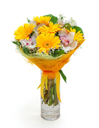 vase of flowers: Bouquet of different flowers in vase isolated on white Stock Photo