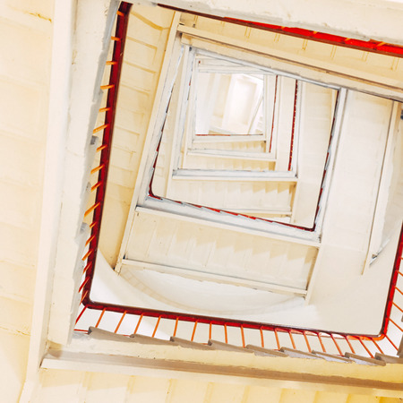 Rectangular spiraling staircase in the lighthouse