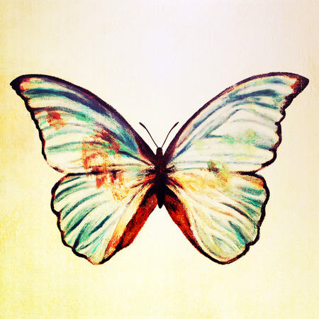 Oil painting of blue butterfly Stock Photo