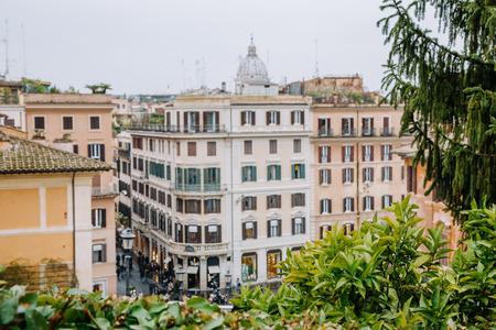 View from the church of Trinita dei Monti at Spanish Steps (Piazza di Spagna). Rome, Italy Stock Photo
