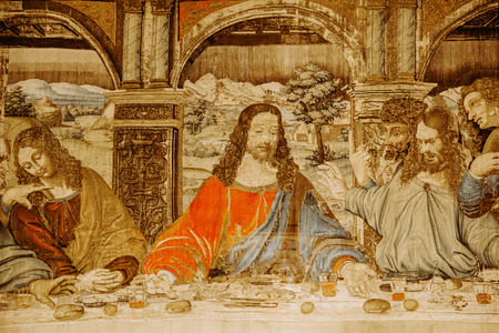 Vatican, Rome, Italy - March 13, 2015: The Last Supper masterpiece by Leonardo da Vinci in Vatican.