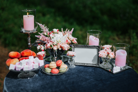 Romantic table setting in a forest.