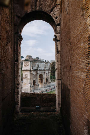 Aerial view of the Arch of Constantine. View from The Colosseum of Rome in Rome Italy, 14.03.2015