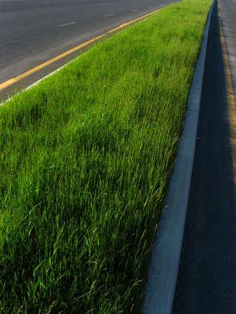 delimitation: A green road between two asphalt roads. Stock Photo