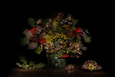 Autumn colorful still life bouquet of leaves, berries, nuts, acorns on black background Zdjęcie Seryjne