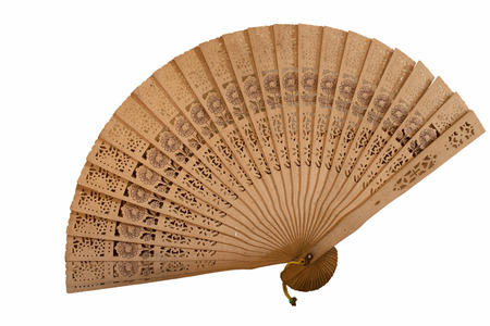 ancients: Antique fan isolated on white  Stock Photo