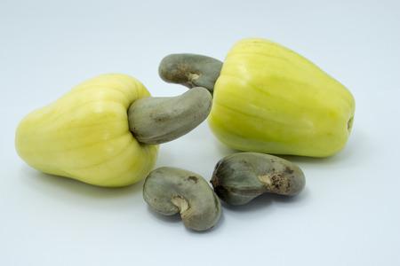 cashew tree: Tropical Cashew fruits on a white background Stock Photo