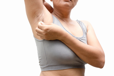 armpits: Hairy armpits of women who do not want problems. Stock Photo