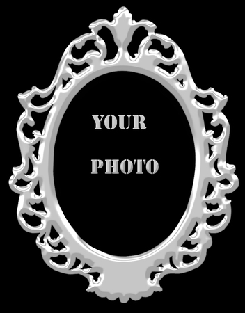 silver picture frame on black background. photo