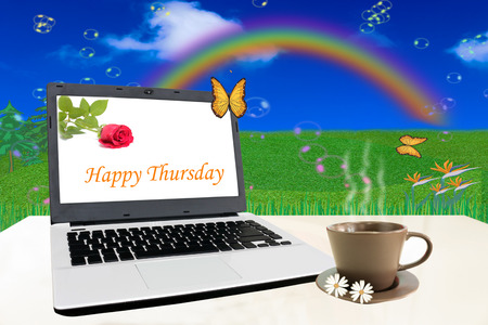 Notebook on white table with Happy Thursday.