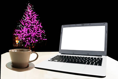 key pad: Notebook on white table with festive Christmas and New Year.