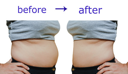 weight loss success: Womans body before and after a diet
