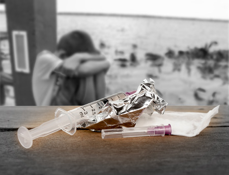 Het concept van de drugsproblemen in de jeugd.