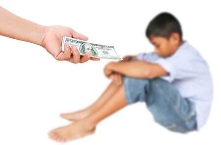 morose: Hands of the people give the dollar for teenage boys,who morose.The concept of adolescent problems Stock Photo