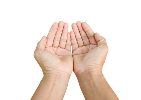 deux mains vides isolé sur fond blanc,