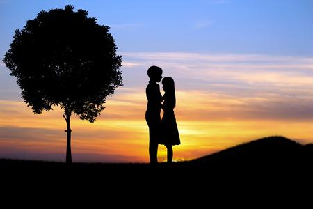 pareja apasionada: Pares en el amor en la puesta del sol