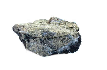 sulphide: stone crystal ore on white background.