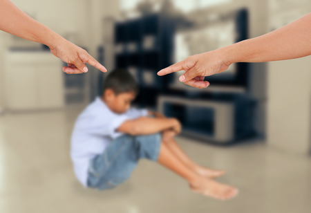 Negative emotion parent pointing at child ,teenage problem concept photo