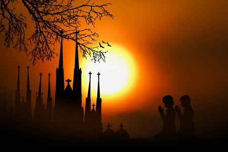 people  praying  to orange moon at night. photo