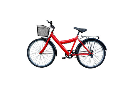 白い背景で隔離赤い自転車