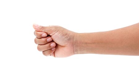 hand holding sign: male hand on the isolated background